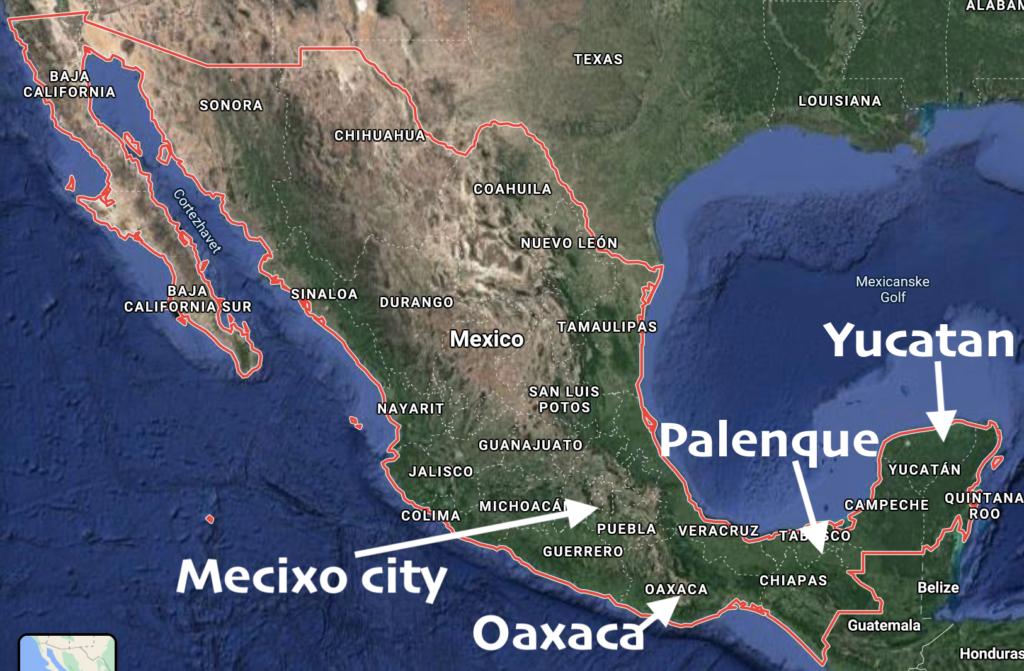 kort over mexico rundrejse